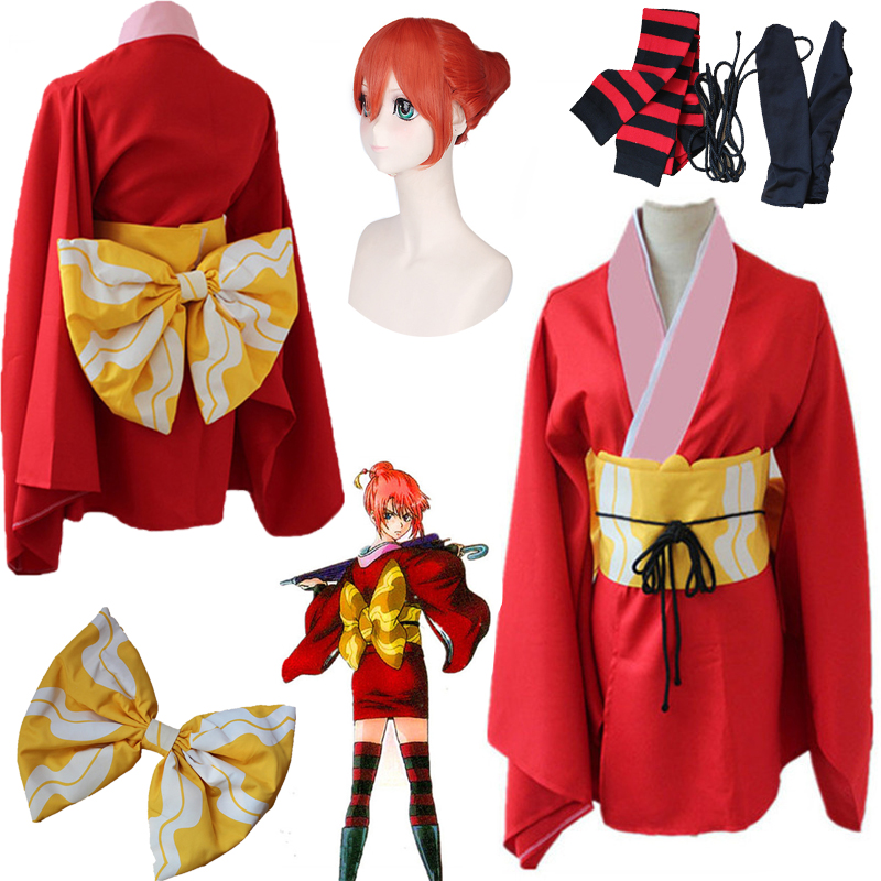 HOT! Tokyo Anime Gintama Kagura Cosplay Costume Silver Soul Kagura Red Dress Japan Traditional Kimono Halloween Cosplay Dress