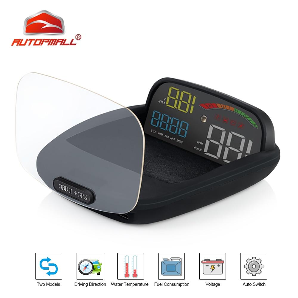Otomobiller ve Motosikletler'ten Baş Üstü Ekran'de Head Up ekran OBD II GPS hız göstergesi Alarm fonksiyonu pratik 2 In 1 HD C800 On kart bilgisayar hızlı projektör araba HUD title=