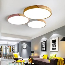 Ultra-thin 5CM modern LED ceiling lamp wood macaron living room lighting bedroom kitchen surface mount ceiling lamp