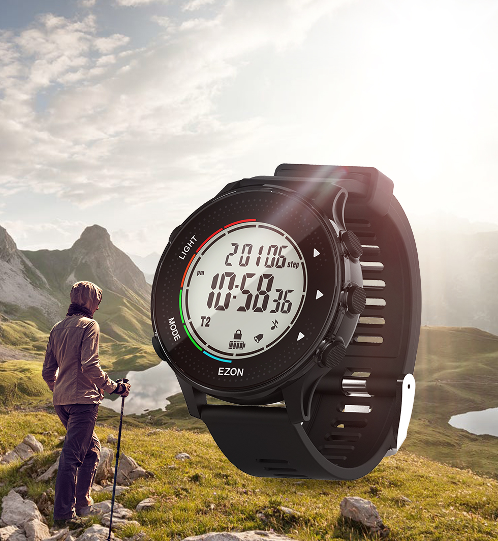 relógio digital com passo e contador de