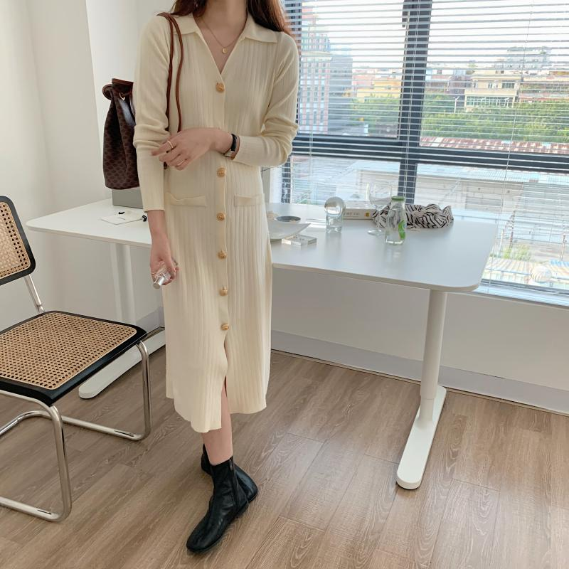 H5c5bfec3219e4f4b9268f0abac378d0eA - Autumn Turn-Down Collar Soft Slim Solid Long Sweater Dress