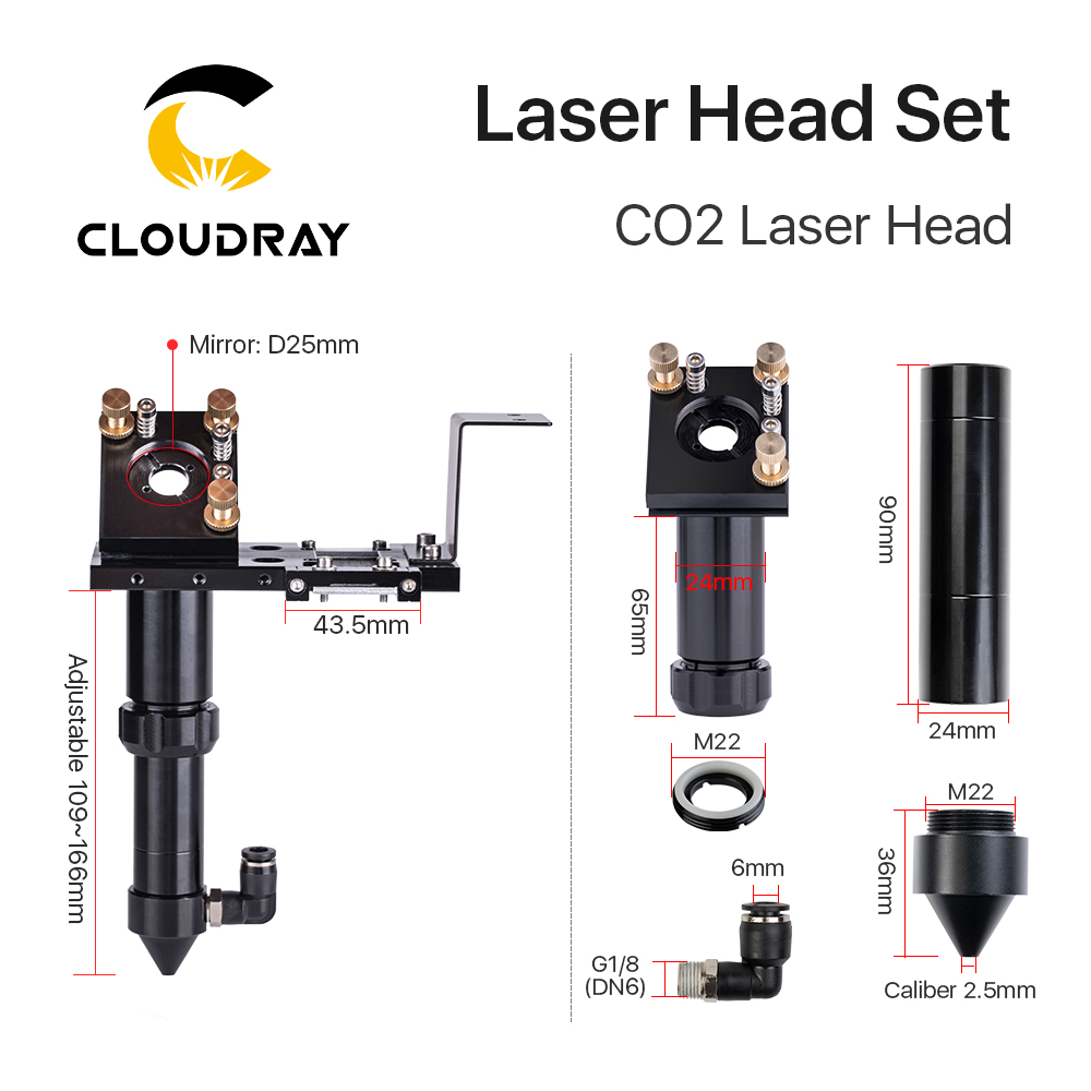 Cloudray CO2 Laser Head Set Dia.18mm FL38.1&Dia.20 FL50.8/63.5/101.6mmZnSe Focus Lens Dia.25m Mirror for Laser Engraving Machine  - buy with discount