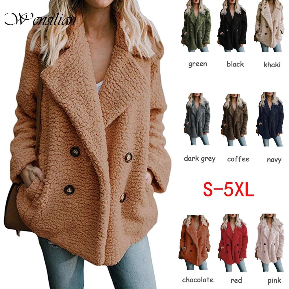 Fluffy Teddy Coat Women Winter Jackets 5XL Plus Size Overcoat Lapel Warm Hairy Jackets Female Coats Long Sleeve Chaqueta Mujer