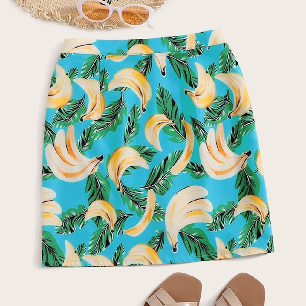 المرأة مثير تنورة الموز يترك طباعة سليم صالح تنورة امرأة الصيف موضة عادية شاطئ ألف خط تنورة حجم S-XL # G3