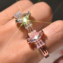 Female Vintage Finger Ring Wedding Rings Jewelry Silver & Rose Gold Color Water Drop Crystal Zircon Party Engagement