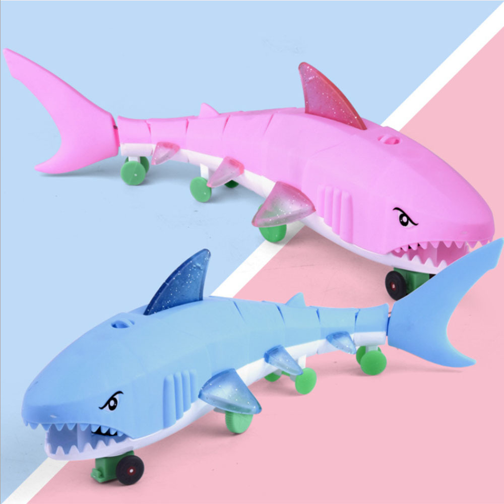 1 Pcs Electric Shark Toy Kid's Electric Toys  Leash Lighting Music Universal Plastic LED Light  Early Children Toys Over 3 Years