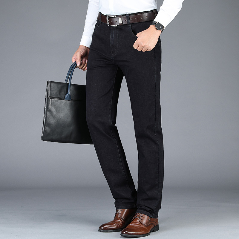 Autumn Jeans Men's Middle-aged Loose Straight Large Size Pants Men Business Formal Wear Daddy Pants Black Gray Trousers