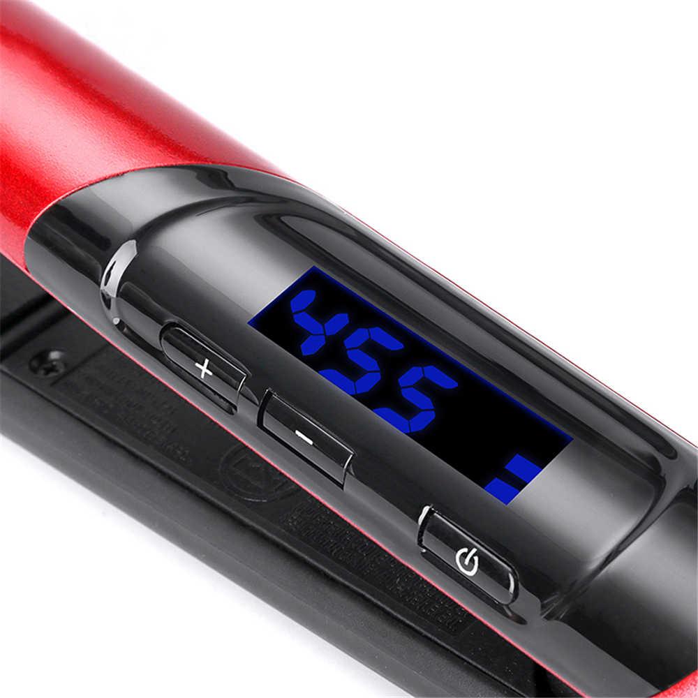 2-in-1 קרמיקה ציפוי שיער מחליק מסרק LCD תצוגה שטוח ברזל מיישר מגהצים שיער Curler מהיר חם -עד סטיילינג כלים