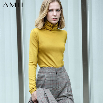 Amii Spring Winter Women's turtleneck Sweater Causal Solid  Slim Fit Wool Pullover Fashion Women's Sweater Tops 11820098 1