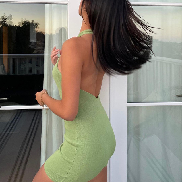 2021 Hollow Out Sexy Dress Women Green Sleeveless Y2K Backless Summer Blue Halter Neck Bodycon Mini Dresses Beach Party Fashion 2