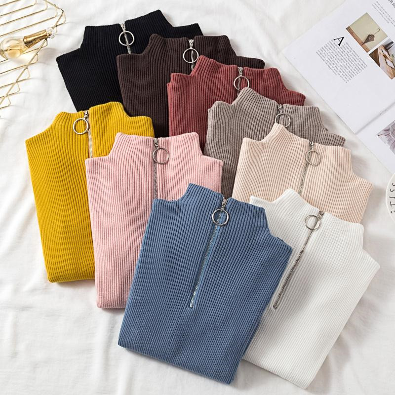 Woman Sweater Autumn And Winter Short Zipper Turtleneck Sweater Long Sleeve Women Sweaters And Pullovers Women Knitted Jacket