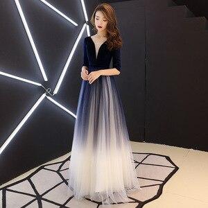 Image 2 - فستان سهرة للمشاهير من Vestidos De Madrinas De Bodas فستان سهرة جديد للولائم لخريف وشتاء طويل سليم سنوي للقاء تنورة صغيرة