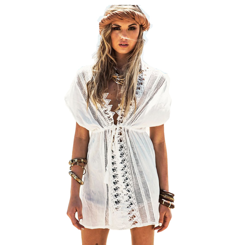 2020 New Beach Cover Up White Lace Swimsuit cover up Summer Crochet Beachwear Bathing suit cover ups Beach Dress