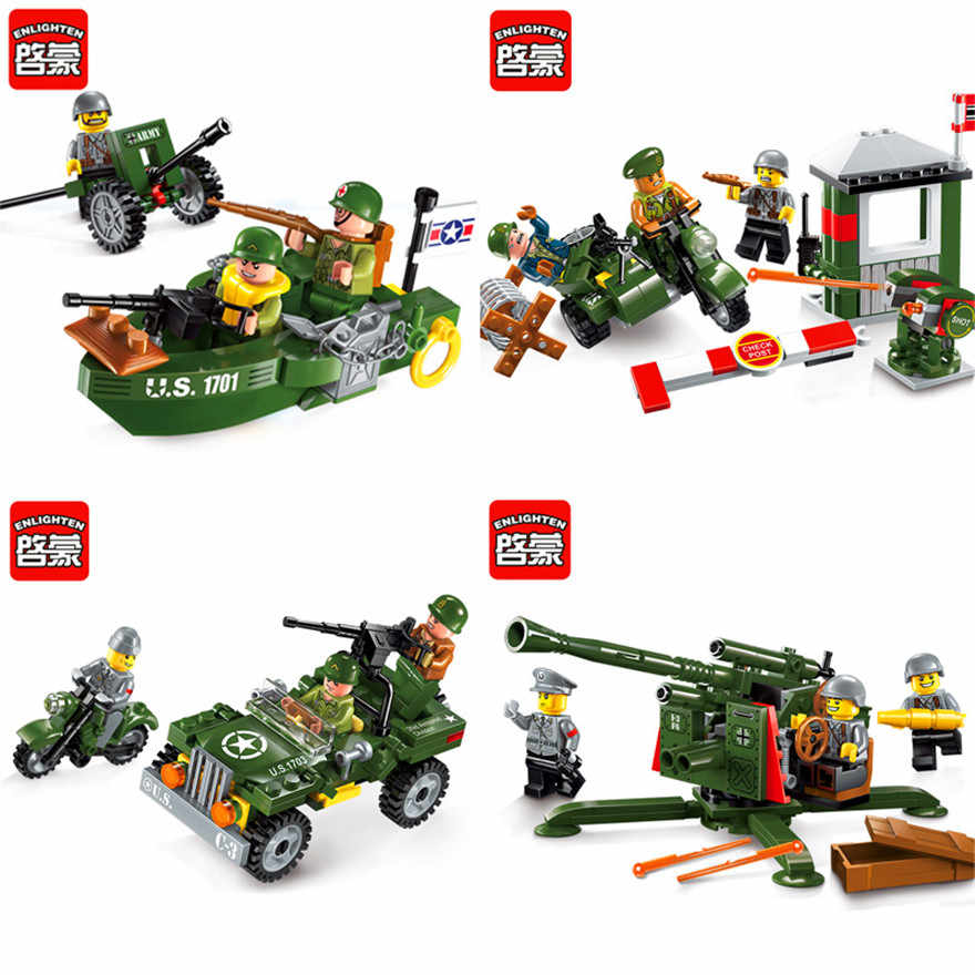ENLIGHTEN Military Motorcycle Cannon Boat Car Army Soldiers Building Blocks Brick Set Compatible Legoe Technic Playmobil Toys