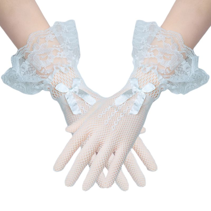 Lace Bow-knot Bridal Gloves Short Full Finger Knitted Sexy Women Mesh Glove