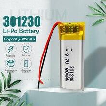 3,7 v 80 мА/ч, литий-полимерная батарея 301230 литий-полимерный аккумулятор Перезаряжаемые батарея для MP3 MP4 bluetooth игрушечные наушники с функцией з...