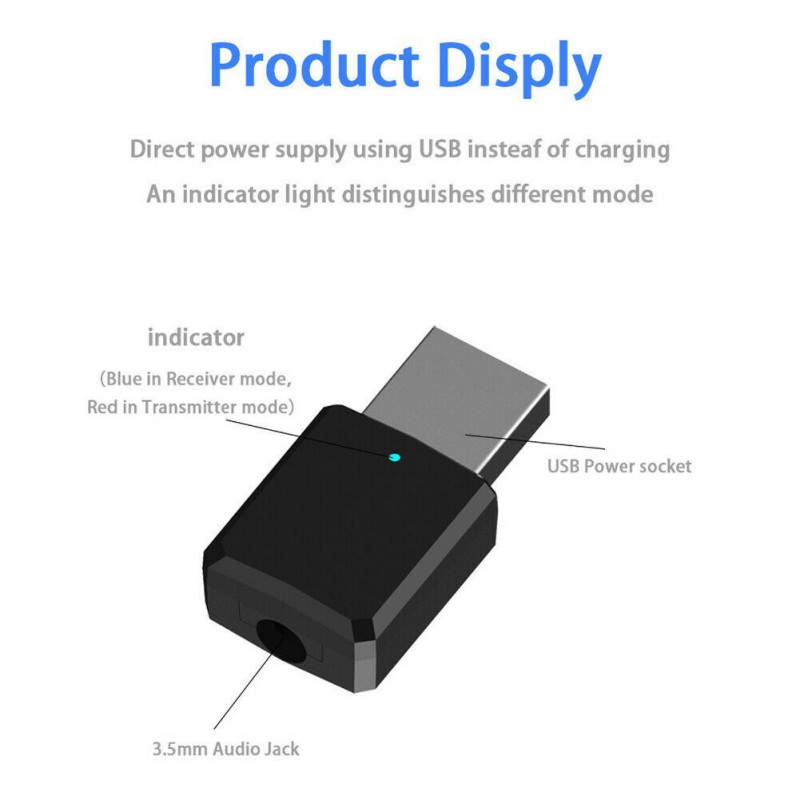 2 In 1 USB Bluetooth 5.0 Transmitter Receiver AUX 3.5mm TV Computer Wireless Adapter image
