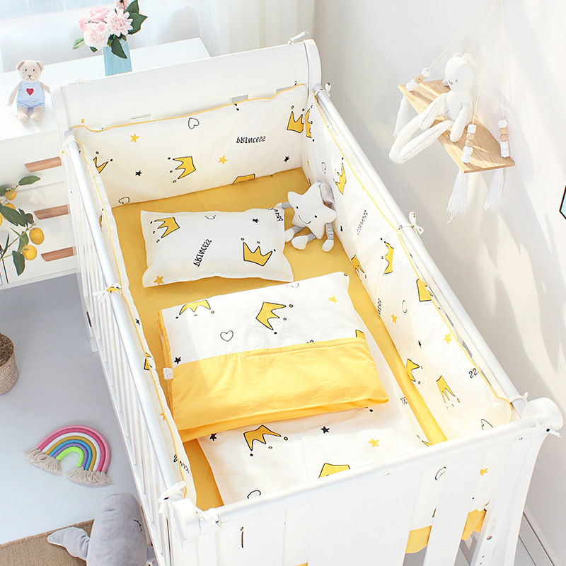 4pcs Cot Bumpers +Flat Bed Sheet Cotton Reducer Children's Crib Side Protector Baby Cartoon Bedding Set Kids Room Decoration