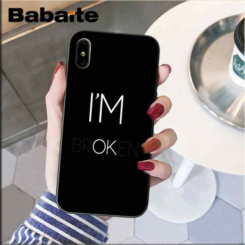 Babaite Berwarna Teks Pada Latar Belakang Hitam Lembut Hitam untuk iPhone 8 7 6 6S Plus X XS MAX 5 5S SE XR 11 11pro 11 Promax