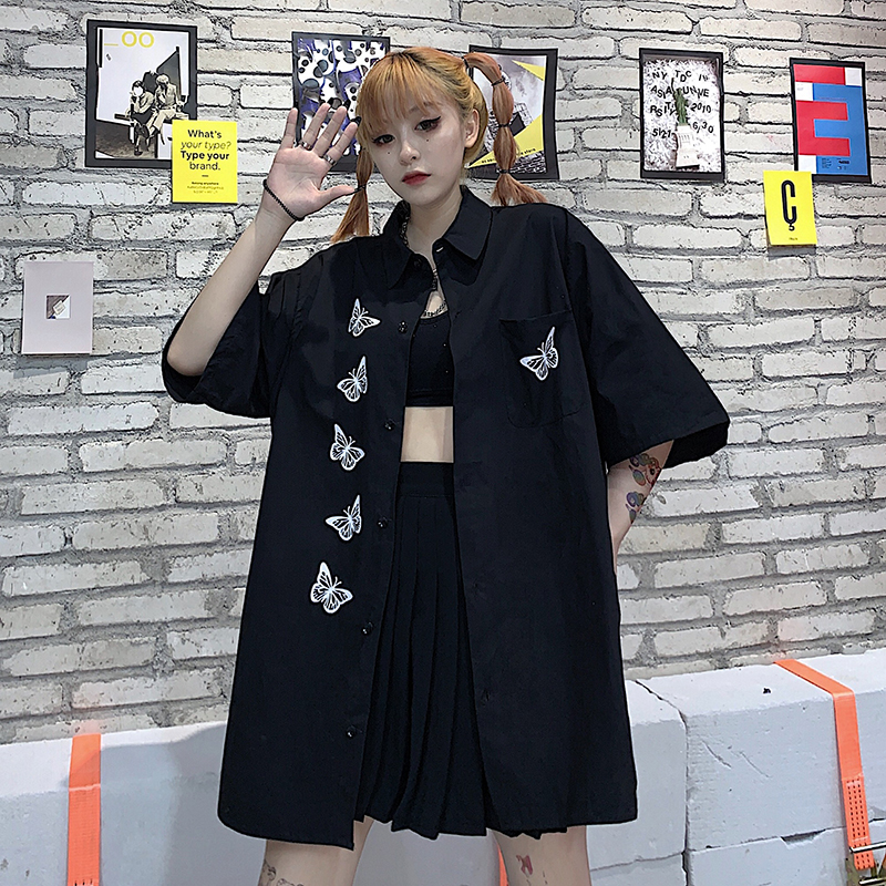 Woman Blouse 2020 Summer Hip Hop Styly Vintage black Lady Loose Shirts Tops japanese Harajuku Turn-Down Graffiti Cartoon Printed