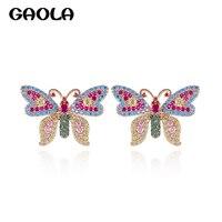 GAOLA Новый 2 цвета разноцветный кубический цирконий классические серьги-гвоздики с бабочкой подарок для помолвки GLE9289