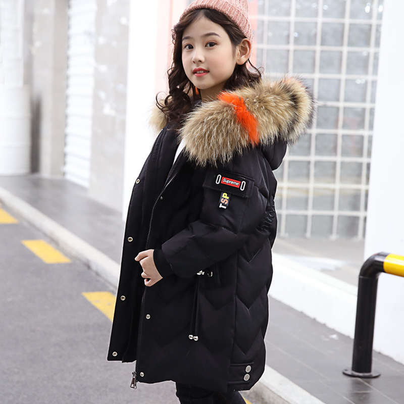 Image 2 - Winter Down Jacket for Girls Clothes parka real Fur Hooded Russian Winter Coat 2019 New Children Outerwear Long Teenage clothing-in Down & Parkas from Mother & Kids