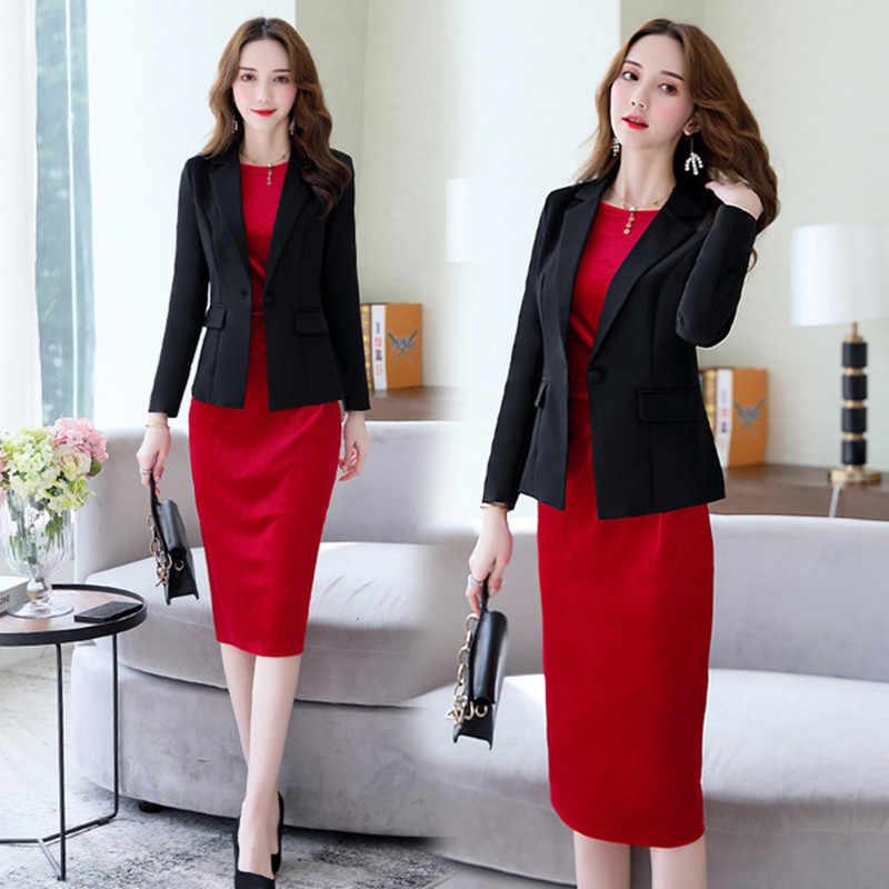 Suits Women Two Piece Set Suit Jacket Blazer Velvet Dress Long Sleeve Black Red Midi Knee Length Autumn Winter Clothes