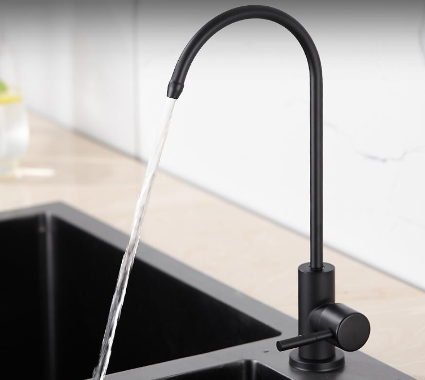 Matte Black Drinking Water Filter Tap 304 Stainless Steel RO Faucet Purify System Reverse Osmosis Robinet Cuisine Torneira KF09