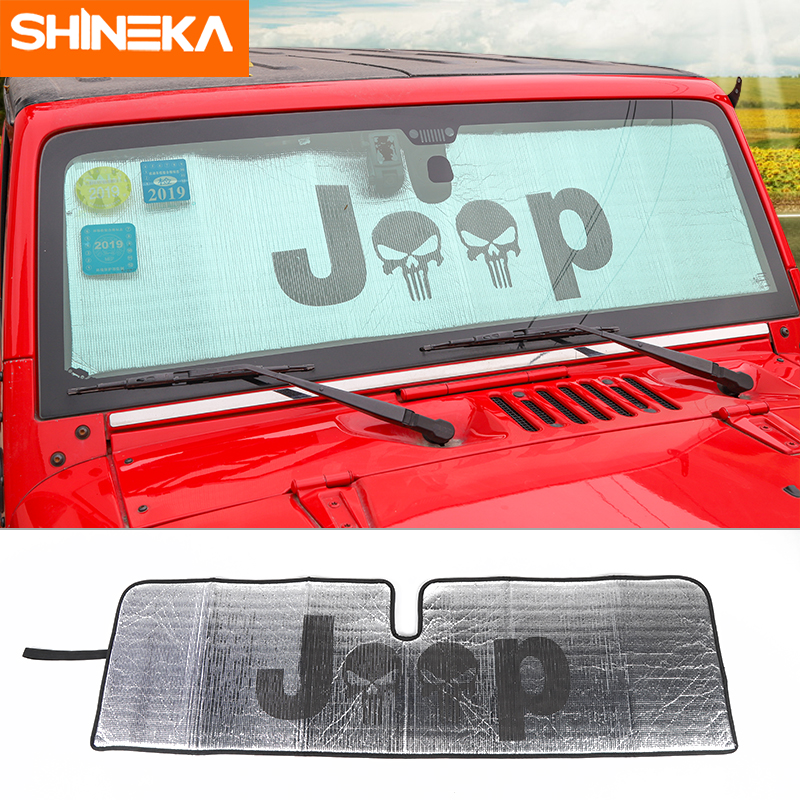SHIENKA Sunshades For Jeep Wrangler JK 2007-2017 Car Front Windshield Sunshade Sun Shield Cover Anti UV Ray For Jeep Wrangler JK
