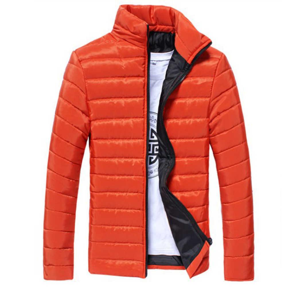 Kışlık ceketler erkekler katı renk Parkas standı yaka uzun kollu Parkas sıcak pamuk kapitone ceket ceket S lim erkek ceket erkek mon