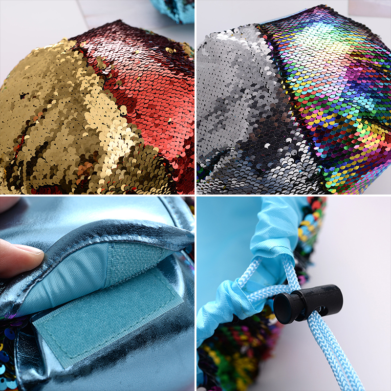 H5c5d71f7a08b4b5198c52822ad0aac54U - New Mermaid Sequins Makeup Bag Pouch Glitter Sequins Cosmetic Bags Drawstring Shrink Storage Pack Portable Travel Toiletry Wash