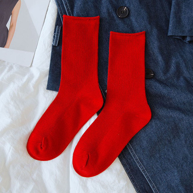 Solid Color Women's Socks Casual Cotton