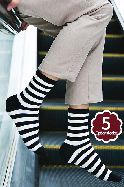 5 Pair Vertical Stripes Women/Men Fashion Causal Socks