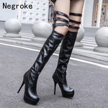 2019-2020 Fashion Leather Women Over The Knee Boots Sexy High Heels Thigh Leather Strap Autumn Woman Shoes Winter Women Boots 2018 hot autumn winter shoes woman leather thigh high boots pointy toe high heels design runway woman over the knee boots t