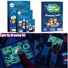 A3 A4 A5 Night Light Glow PVC Drawing Board Set UV Pen Graphics Card Children's Educational Toy Writing Paint Draw Birthday Gift