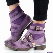 Модные зимние ботильоны женские фиолетовые короткие из натуральной