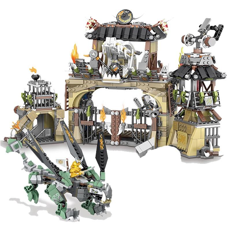 2020 Masters of Spinjitzu Dragon Pit 70655 Building Block Compatible lepining Ninjagoing Green Dragon Ninja Battle toys for Kids