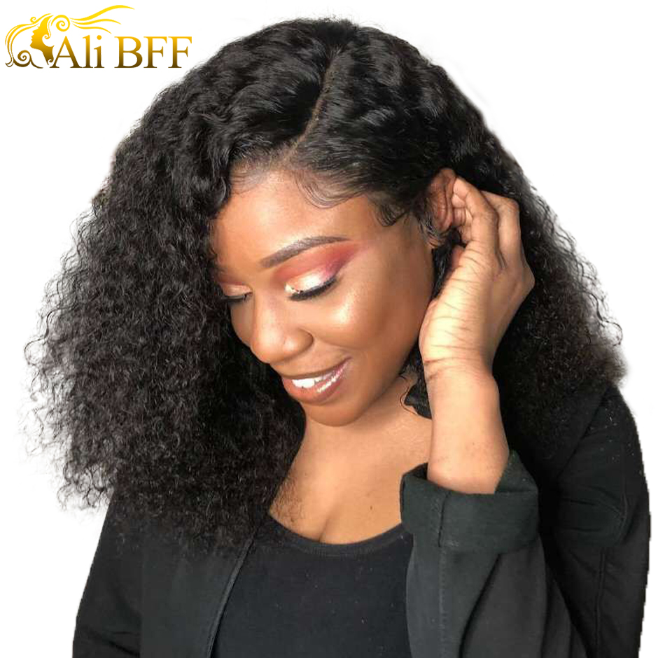 ALI BFF  13*4 Lace Front Bob Wigs Brazilian Human Hair Wigs For Black Women Natural Color Remy Kinky Curly Short Lace Front Wigs
