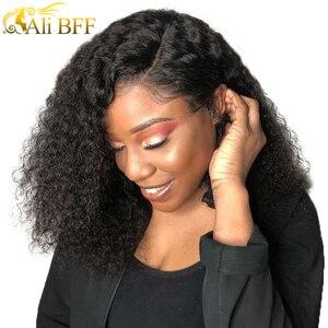 ALI BFF 13*4 pelucas de encaje frontal Bob pelucas de cabello humano brasileño para mujeres negras Color Natural Remy Kinky pelucas frontales de encaje corto rizado
