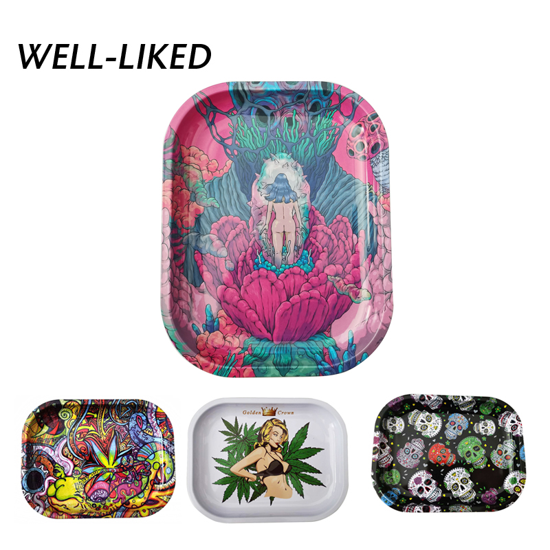 2020 New Arrival Tobacco Roll Plate Tinplate Tray Herb Rolling Durable Metal Storage Tray Smoking Accessories Wholesale Gifts