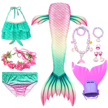 Kids Mermaid Staart Badpak Met Vinnen Tops Bikini Pak Meisjes Monofin Swimmable Halloween Kostuums Cosplay Zwemmen Flipper