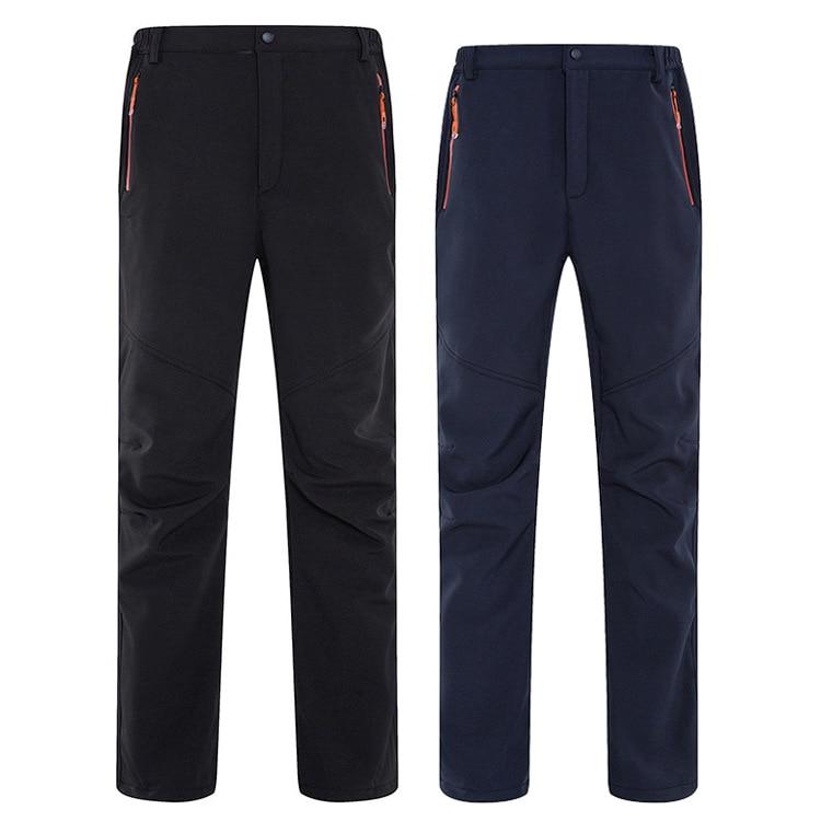 Winter Men Women Waterproof Windproof Fleece Pants Soft Shell Climbing Fishing Trousers Men Women Thermal Skiing Pants