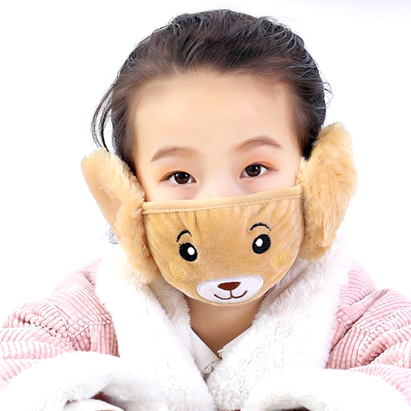 New Autumn Winter Plush Children Cartoon Ear Protectors Cotton Bear Warm Earmuffs Warm Mouth Mask Ear Cover Hot Sale