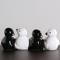 Black and white ceramic bird flower pot display a desktop display creative craft gift display