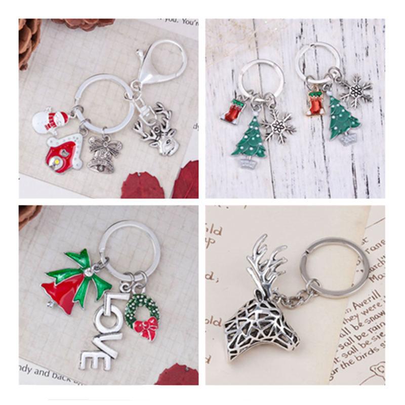 1 PC Keychain & Keyring Christmas Snowman Reindeer House Jingle Bell Tree Wreath Stocking & Snowflake Enamel Jewelry Gifts