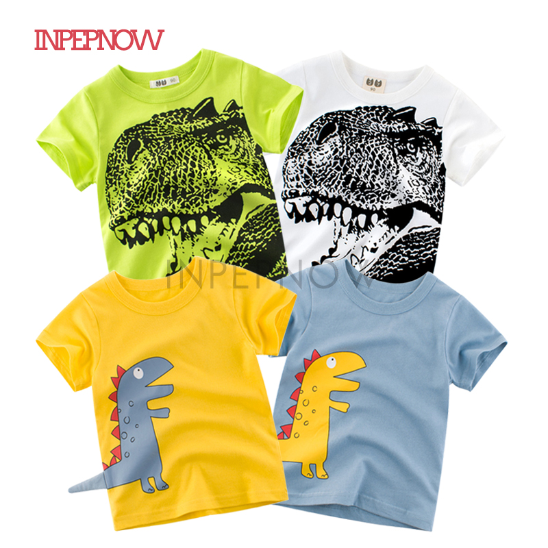 INPEPNOW T-Shirts Girls Tops Happy Birthday Children's for Dinosaur Boy Kids