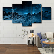 Canvas Painting Wall Art Home Decor Framework 5 Pieces Blue Aurora Borealis Snow Mountain Modern HD Printed Night Scene Pictures