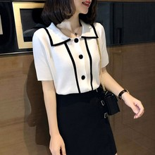 Summer Women Short Sleeve Loose Casual Lapel T-Shirt Fashion Striped Patchwork T Shirt Female Korean Ice Silk Knitted Tops