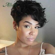 Perruque Pouclé Pour Les Femmes Noires Allure Perruque Brésilienne Cheveux Humains Courte Avec Frange Perruque Frisé Brésilienne Sans Colle Couleur Marron