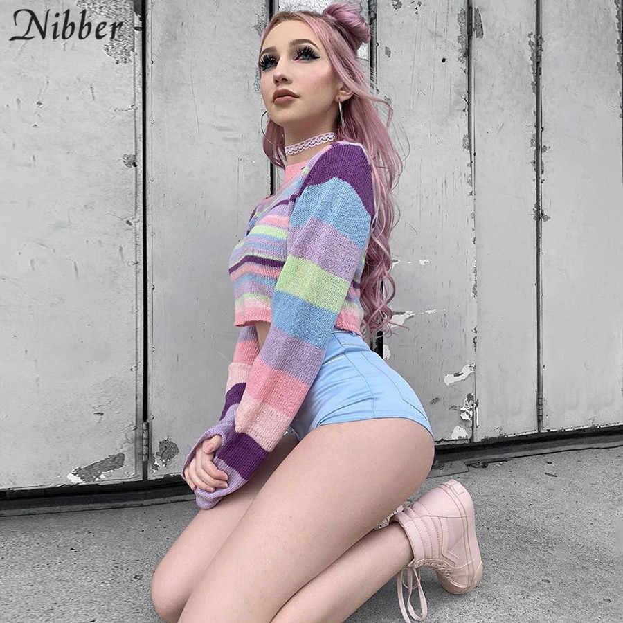 Suéter Harajuku colorido caliente del otoño del Nibber mujeres 2019otoño invierno suelto básico crop top señoras elegante Calle casual suéter mujer